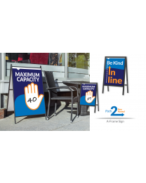 "Our Black Metal A-Frame's Hold 24"" x 36"" Panels to Help Promote Social Distancing."
