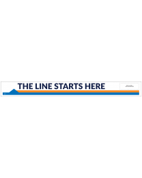 "Line Starts Here Arrow-Left 33"" x 3.5"" Directional Floor Decal (10/Pack)"