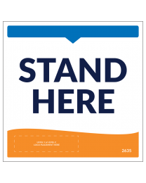 "Stand Here 8"" x 8"" Decals are Perfect For Indoor Use to Promote Social Distancing."
