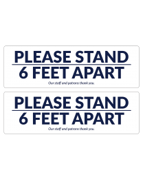 "17"" x 5.25"" Please Stand 6 Feet Apart floor decals for separating out customers in line or in the store."