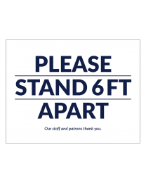 """Please Stand 6 Feet Apart"" 8.5"" x 11"" Outdoor Ground Decal (10/Pack)"