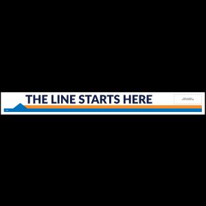 """Line Starts Here Arrow-Left 33"""" x 3.5"""" Directional Floor Decal (10/Pack)"""