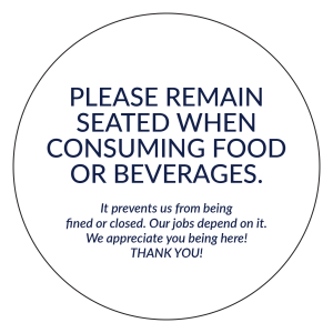 """Please Remain Seated"" 4""x4"" Round Removable Stickers (40/Pack)"