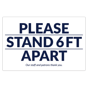 """Please Stand 6 Feet Apart"" 17"" x 11"" Floor Decals (10/Pack)"