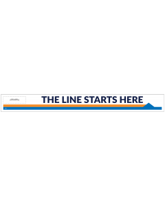 "Line Starts Here Arrow-Right 33"" x 3.5"" Directional Floor Decal (10/Pack)"