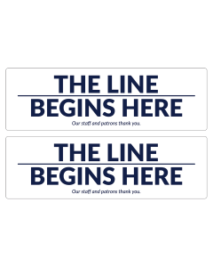 "17"" x 5.25"" The Line Begins floor decals to indicate where customers should stand for a line."