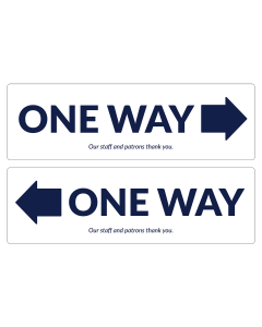 "One Way 17"" x 5.25"" floor decals used to indicate which way traffic flows through aisles."