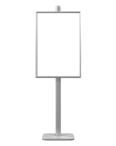 2-sided, 6 feet tall, round base, silver poster stand